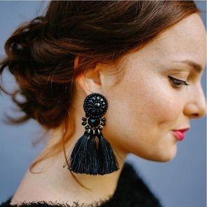 Jewelry - Bohemian Long Black Tassel Statement Earrings